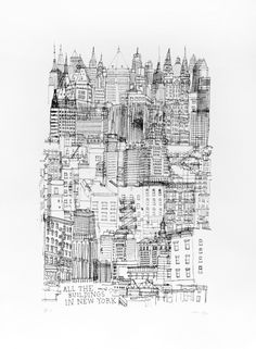 ALL THE BUILDINGS IN NEW YORK SCREENPRINT by James Gulliver Hancock
