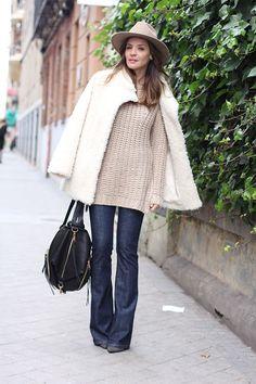 Flare jeans, knit, fur coat