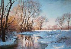 Winter Waterside Landscape  Signed by SZEVA  Oil on Canvas Size(WxH): 28''x20'' i3_20090912144429.jpg (700×483)