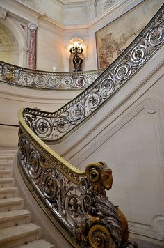 Château de Chantilly (Oise), France - Stairway of Honor in the Musée Condé