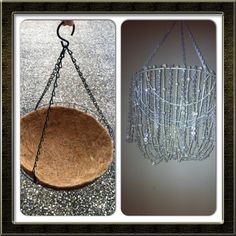 Home made chandelier made from a hanging basket from Bunnings & acrylic bead strings.  Made these to use as decorations for a Great Gatsby themed 30th birthday