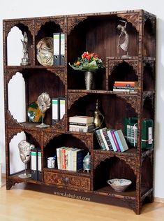 antique-look Hand Carved orient vintage wooden bookshelf shelf from Afghanistan Nuristan No-2015-15