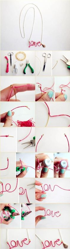 DIY wrapped wire necklace you can create into words
