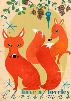 Elisandra is a designer based in Berlin, Germany and the owner of an online store Sevenstar. Her new retro-style Christmas card collection is inspired by the animals of the forest and 60s bold color palette are beautiful.