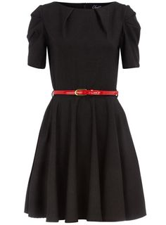 Dorothy Perkins charcoal pleated sleeve dress. $89 and work appropriate.
