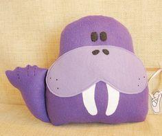 Purple Walrus Stuffed Animal Decor, via Etsy.