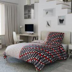 Krepové povlečení černé bílé šedé kostky čtverce mozaika geometrické Comforters, Blanket, Home, Creature Comforts, Quilts, Ad Home, Blankets, Homes, Cover