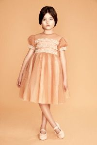 Embroidered organza dress by Bibiona #fashion #dress #collection #gold #fall #grey #pearl #bows #bibiona Nice Dresses, Girls Dresses, Flower Girl Dresses, Hipster Babies, Girl Outfits, Fashion Outfits, Organza Dress, Princess Belle, Fashion Kids