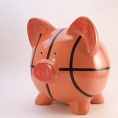 Basketball Piggy Bank Personalized Sports Bank by ThePigPen Personalized Piggy Bank, Pig Pen, Money Bank, Crafty Kids, Red Accents, Arts And Crafts, Hand Painted, Etsy, Ceramics