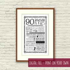 Print on your own: A fun personalized poster, including events and facts from 1925. Perfect as a 90th birthday gift or decoration!