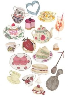 Tea and Cake illustration by Emma Block Illustration Mignonne, Illustration Art, Cupcake Illustration, Chocolate Cafe, Whatsapp Wallpaper, Tea Art, Food Drawing, Tea Cakes, My Tea