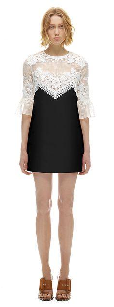 self-portrait   Trumpet Sleeve Shift Dress With Black Skirt