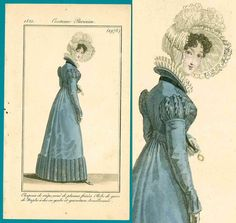Blue redingote 1821 Regency fashion print Costume Parisien gown bonnet redingote