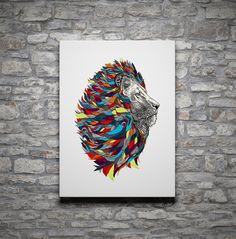 "Wallarts, Wall Decor, House Interior Decor, Gift for dad, Gift for him, ""Alpha Male Lion With Thick Retro Mane Bust Portrait"" Poster"