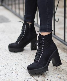 Picture of Haruno Denises Pinto Black Lace Up Boots, Black Heel Boots, High Heel Boots, High Heels, Lace Up Heel Boots, Platform Ankle Boots, Combat Boots Heels, Black Combat Boots, Kawaii Shoes