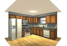 10x10 kitchen, L-shape
