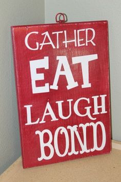 Wood sign for dining room or kitchen by iwantthatcrafts on Etsy, $12.00