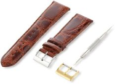 Artisan of Italy CITPD400-0322MR Men's Dress Padded Crocodile 22mm Tan Watch Strap. Handmade in Italy by Artisan craftsmen. 1st Grade CITES-certified caiman crocodile. Strap includes two buckles with E-Z change tool. Hand finished and tapered for a luxurious appearance. Remborde turned-edge construction.