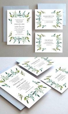 Wedding Invitation // Wedding Invites // Printable Wedding Invitations // Botanical Wedding Invitation Suite // Design by Oakhouse