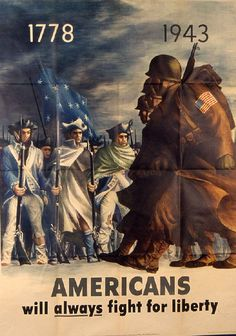 Americans will Always Fight for Liberty poster by Bernard Perlin (Designer), US Office of War Information, Washington, DC (Publisher), circa 1943. #WWII #politicalpropaganda