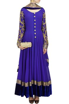 Buy Royal Blue Color Floor Length Anarkali Suit online in India at best price.This floor length anarkali suit is featuring in a royal blue color with fully embroidered sleeves, front Anarkali Dress, Anarkali Suits, Lehenga Gown, Indian Attire, Indian Ethnic Wear, Pakistani Outfits, Indian Outfits, India Fashion, Asian Fashion