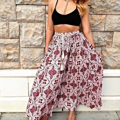 Stunning blush/mauve flowy drawstring maxi skirt Stunning colors in an easy to wear always glam boho chic patterned flowy skirt! Skirts Maxi