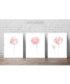 Shabby Chic Painting Baby Pink Nursery Wall by ColorWatercolor #pink #flower #peony #painting #nursery #art #decor #poster #drawing