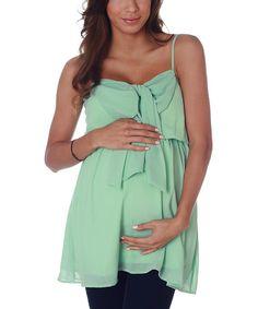 Take a look at this PinkBlush Mint Green Chiffon Bow Maternity Tunic - Women by PinkBlush Maternity on #zulily today!