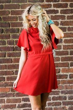 540ec8fbdbdd My New World Bell Sleeve Dress - Red