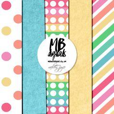 colorful paper stripes - dots   pink, green, orange, purple paper   blue & yellow felt by MelanieBrittDigitals on Etsy