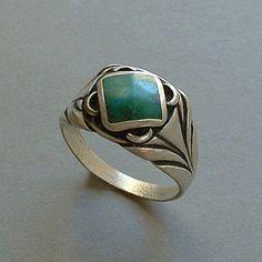 OLD PAWN Vintage Native American Men's NAVAJO Ring Sterling Silver Chrysocolla Gemstone Size 11 c.1930s #OldPawnJewelry #NavajoRing