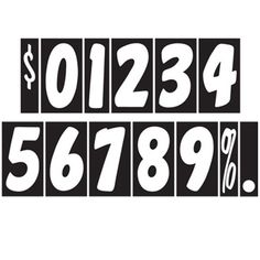 "CAR DEALER Window Number Stickers 7.5"" Vinyl 22 Dozen Windshield Black White #CarLotPromotions"