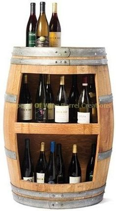Wine barrel wine holder.