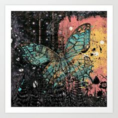 Butterfly Grunge Art Print by Cassie Peters - $14.00
