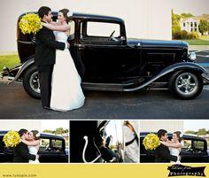Wedding Exit to Vintage Car