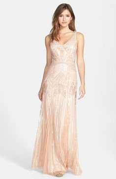 Adrianna Papell Long Beaded Gown, Nordstrom. Wow, Stunningly Gorgeous!  Want to wear dancing the night away with my husband.