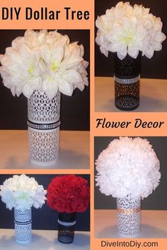Create this gorgeous DIY flower decor with one stop to the Dollar Tree. These flower arrangements can be used as home decor, or even as a centerpiece for a wedding. Adding a flameless candle to the bottom will add some romantic ambiance to any room or table setting. Change up the flowers, ribbons, or even spray paint the bottom for a look that is unique to you.