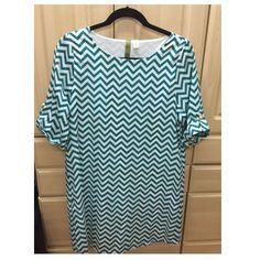 Green And White Chevron Shift Dress