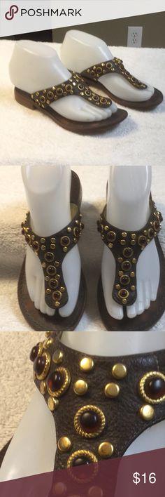 Antonio Melani brown leather jeweled sandals 6.5 Antonio Melani brown leather sandals jeweled gold and red stones women's size 5.5 medium in beautiful condition ANTONIO MELANI Shoes Sandals