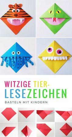 Lesezeichen basteln: Monster und Tier Lesezeichen falten mit Kindern - List of the most creative DIY and Crafts Origami Diy, Origami Tutorial, Origami Paper, Origami Ball, Origami Boxes, Dollar Origami, Origami Instructions, Origami Ideas, Kids Crafts