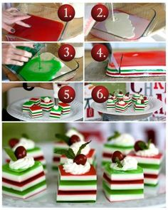 Holly Jolly Jelly Shots 1 box cherry gelatin box lime gelatin packets unflavored can sweetened condensed cups vanilla dollops whipped cream (for mint leaves (for small red candies (or 36 if using just one for garnish) Christmas Jello Shots, Christmas Drinks, Christmas Goodies, Christmas Desserts, Holiday Treats, Christmas Treats, Christmas Baking, Holiday Recipes, Christmas Recipes