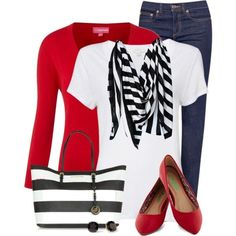 Wear the nautical theme by adding blue, red, white and stripes.