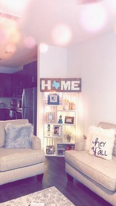 DIY corner shelf made from unfinished wooden crates. Wrapped with mini white string lights a hime MT sign and family pics onnyhe corner of the family room how cute! My Living Room, Home And Living, Living Room Decor, Decor Room, Simple Living, Diy Corner Shelf, Room Decor For Teen Girls, College House, First Apartment Decorating