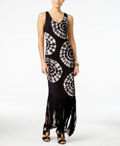 e0414c345df85 INC International Concepts Tie-Dyed Fringe Maxi Dress, Created for Macy's &  Reviews - Dresses - Women - Macy's