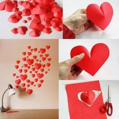Why not brighten a dull wall with a paper made love heart arrangement?