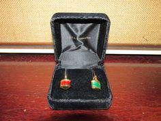 A.G.A. Correa & Son Nautical Boat Lantern Green and Red 10k Earrings apx 8.1 g #agscorreason #DropDangle