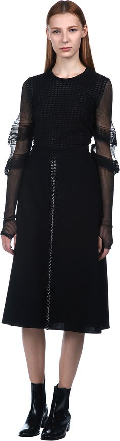 Ruched Sheer Sleeve Textured Sweater | J.W.Anderson | LOIT