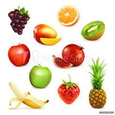 Fruits, set of vector illustrations