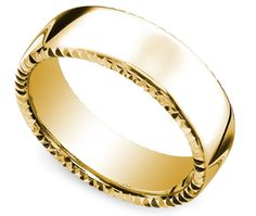 Satin Carved Men's Wedding Ring in Yellow Gold