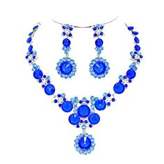 Affordable Wedding Jewelry Aqua Royal Blue Rhinestone Flower Leaf Earrings Silver Necklace Set Affordable Wedding Jewelry http://www.amazon.com/dp/B017BZZJXO/ref=cm_sw_r_pi_dp_5LPnwb1233TGZ